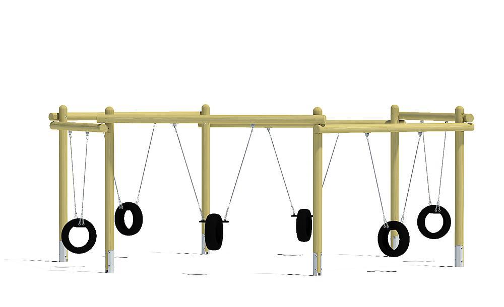 Sechsfachschaukel mit Reifensitzen