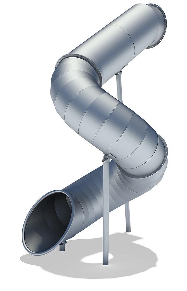 Röhrenanbaurutsche 270 Grad, links gewendelt, PH 345 cm, Edelstahl