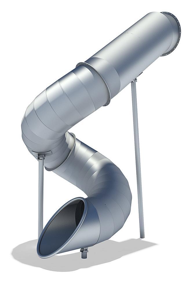 Röhrenanbaurutsche 270 Grad, rechts gewendelt, PH 345 cm, Edelstahl